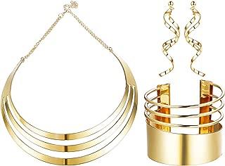 Bib Choker Necklace Set for Women Wide Cuff Bangle Bracelets Statement Dangle Earrings Jewelry
