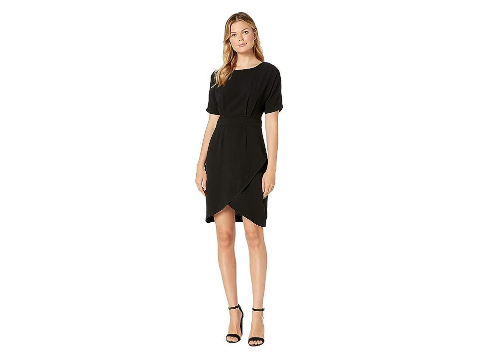 Bobeau Dolman Sleeve Wrap Dress (Black) Women