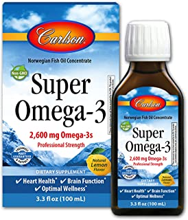 Carlson - Super Omega-3, 2600 mg Omega-3s Professional Strength Liquid, Heart Health, Brain Function & Optimal Wellness, Lemon, 100 ml