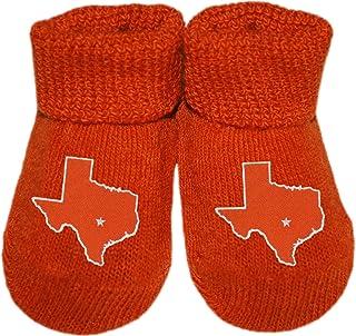 Map of Texas Burnt Orange Newborn Baby Booties