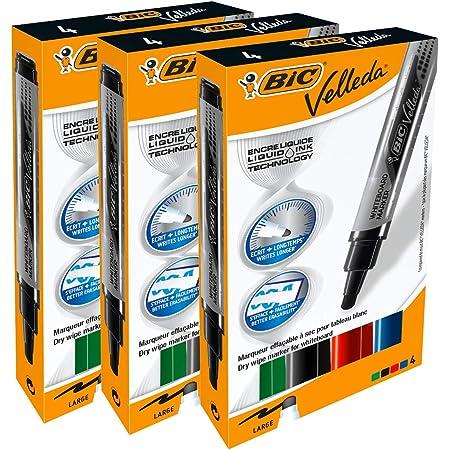 BIC Velleda Feutres pour Tableau Blanc Effaçables à Sec Pointe Conique Large - Couleurs Assorties, Etui Carton de 4 - Lot x3