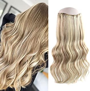 Oreola Halo Hair Extensions Real Human Hair with Invisible Fish Line, Dark Dirty Blonde with Platinum Blonde Highlights #P...