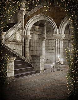 8x 10FT interior castillo fotografía telón de fondo Ladrillos Suelo impreso escaleras piedra arco pilares amarillo flores retro vintage foto fondos para estudio