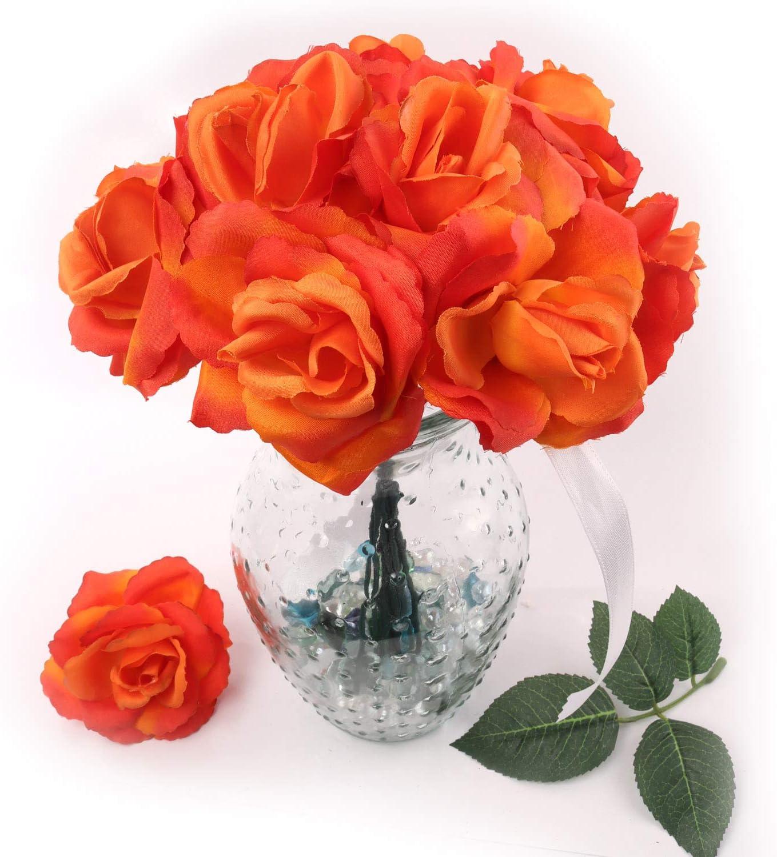 Artificial Flowers Orange Rose Picks Decorations Wedding for Luxury mart goods Bo