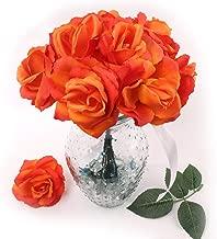 Orange Silk Rose Picks - 50 pcs - Beautiful Fabric Artificial Roses with Flexible Ready-to-Cut 8