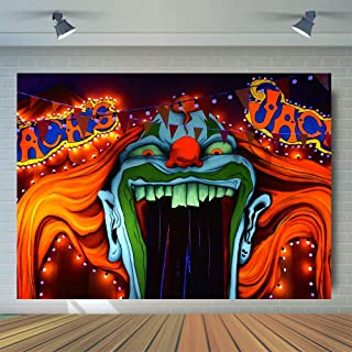 Halloween Eve Horror Circus Carnival Theme Photography Background Giant Halomas Birthday Party Photo Background Scary Entrance Giant Evil Vampire Cake Table Decoration Banner Studio Props 7x5ft Vinyl