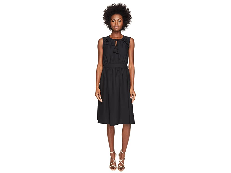 Kate Spade New York Rambling Roses Crepe Ruffle Fit and Flare Dress (Black) Women