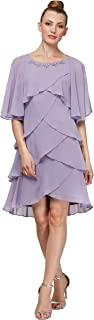 S.L. Fashions Women's Chiffon Tier Jacket Dress with Bead Neck