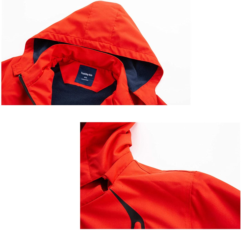 WYTbaby Kids Waterproof Rain Jacket Boys Girls Fleece Outerwear Hooded Lined Windbreaker
