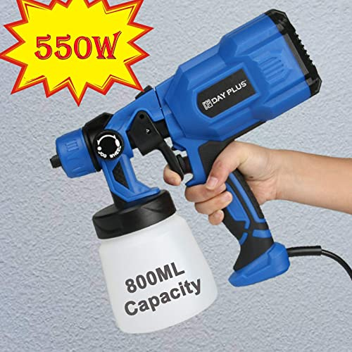 popular Paint Sprayer Gun with 800ml Detachable Container, 550W 100 DIN-s lowest 450ml/min HVLP Electric Spray Gun with 3 Spray Patterns, Nozzle and outlet sale Viscosity Cup for DIY Home Spraying Painting Work online
