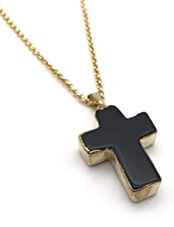 Natural Black Tourmaline Cross Pendant Necklace for Men Women 22 inches