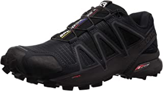 Salomon Men's Speedcross 4 Trail Running Shoes, Black/Black/BLACK METALLIC, 8 Wide