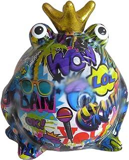 Pomme Pidou Skarbonka żaba król graffiti liliowa 15x17 skarbonka prezent pieniężny