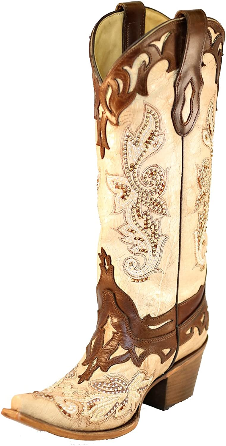 Corral C2825 Crackle Bone and Tan Studs and Crystal Boots