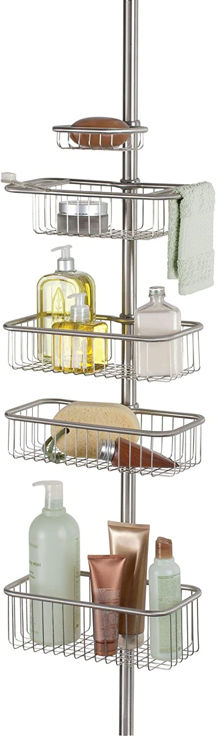 InterDesign Forma Metal Wire Tension Rod Corner Shower Caddy, Pole, and Baskets for Shampoo, Conditioner, Soap, 5'-9', Brushed Stainless Steel