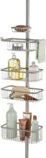 iDesign Forma Metal Wire Tension Rod Corner Shower Caddy, Pole, and Baskets for Shampoo, Conditioner, Soap, 5'-9', Brushed Stainless Steel