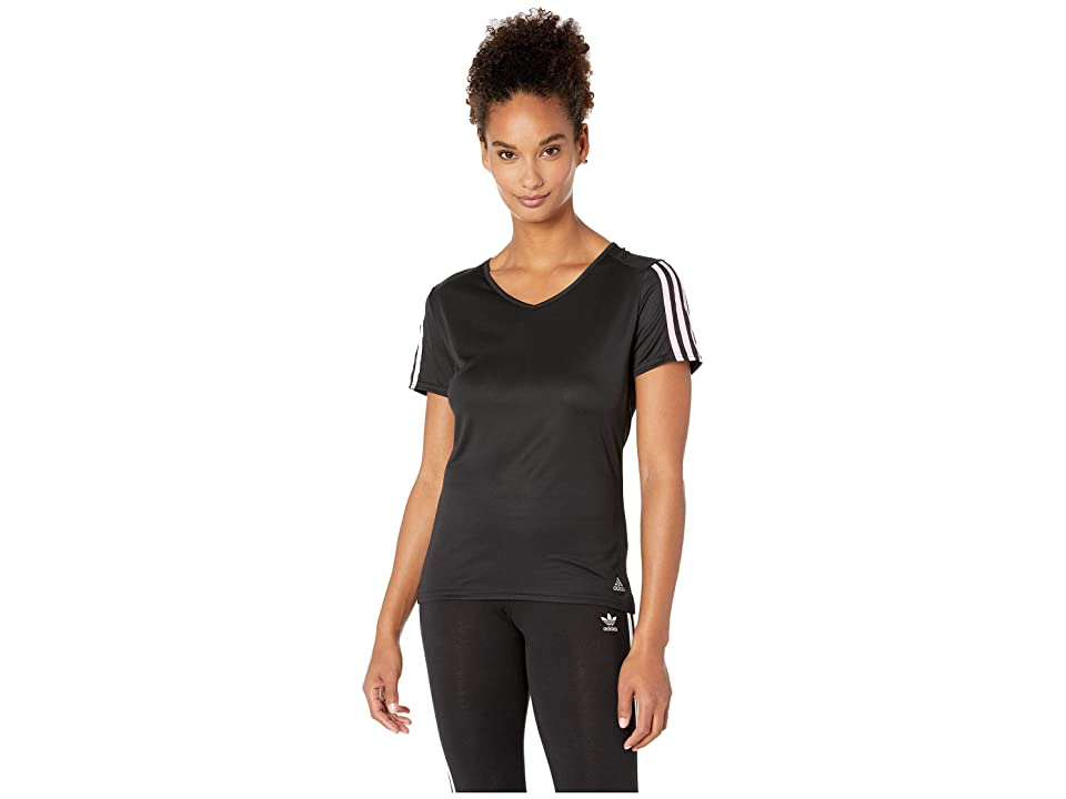 adidas Running 3-Stripes Tee (Black/True Pink) Women