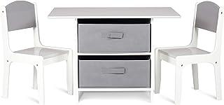 Milliard Ensemble Table Enfant et 2 Chaises, avec Espace de Rangement, Bois Table D'activités - Blanc