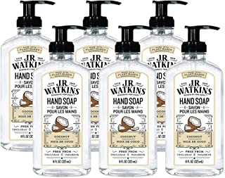 JR Watkins Gel Hand Soap, Coconut, 6 Pack, Scented Liquid Hand Wash for Bathroom or  Kitchen, USA Made and Cruelty Free, 1...
