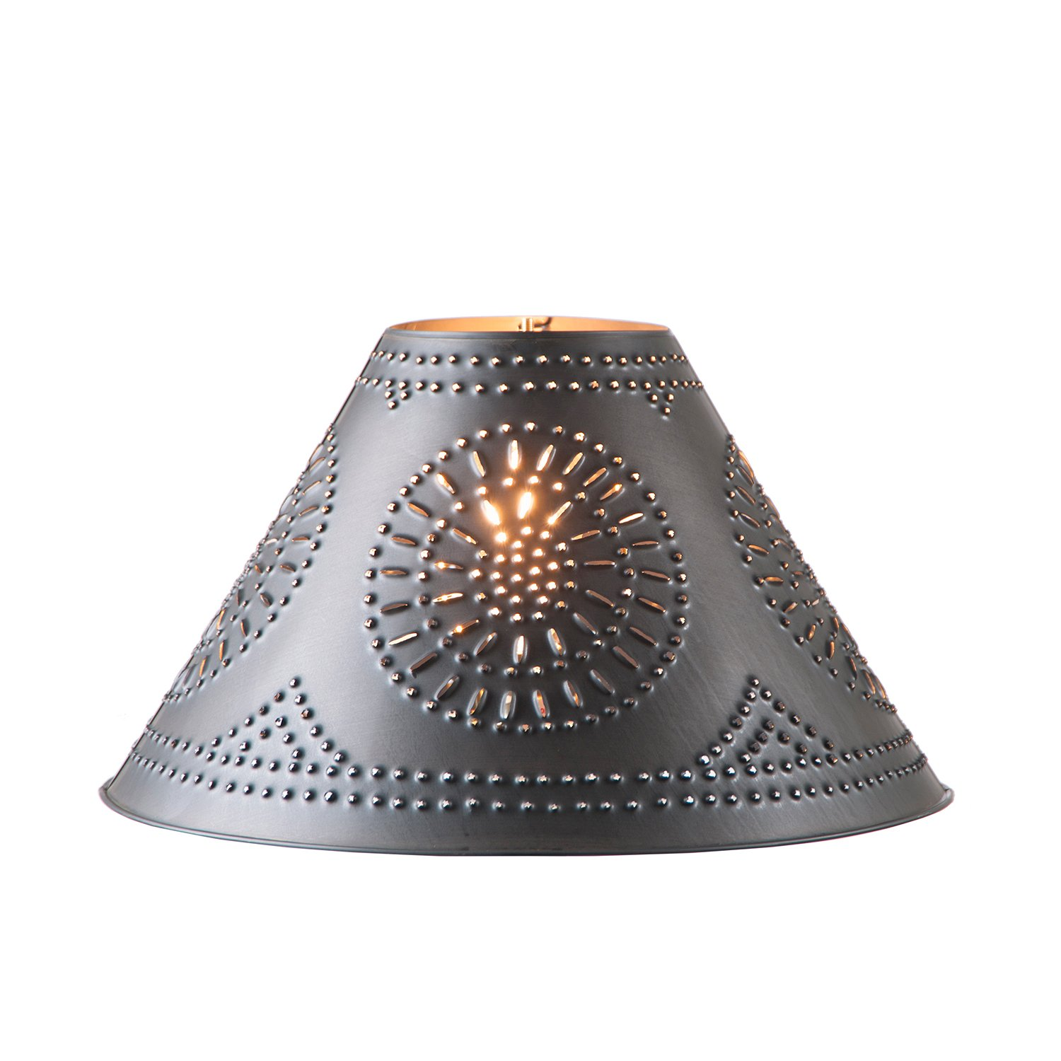 """Country new Large 17/"""" punched tin Smokey black flare side lamp shade"""