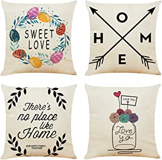 unbrand Farmhouse Throw Pillow Covers 18x18 Inch, 4 Pack Vintage Home Decorations Throw Pillow Case Cushion Cover for Sofa...