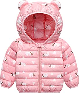 FEOYA Toddlers Baby Boys Girls Puffer Down Jacket Winter Cotton Coat Cute Ear Hooded Warm Snow Outwear Clothes