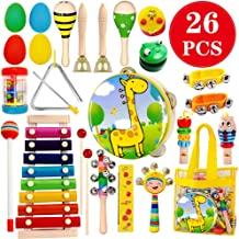 ToyerBee Musical Instruments Toys Set for Kids,26 PCS Wooden Percussion Instruments for Toddlers, Preschool& Educational M...