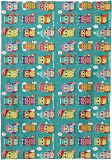 WIHVE Tablecloth Vintage Christmas Owls Snowman Rectangle Table Cloth Wrinkle Free Anti-Fading Tablecloths Washable Table Cover for Kitchen Dinning Party 54 X 72 Inch