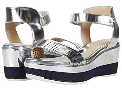 Cole Haan Grand Ambition Wedge Sandal (Silver Specchio Leather) Women