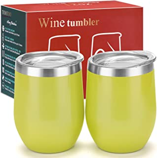 TOMTOO Wine Tumbler With Lid - 12 oz Double Wall Vacuum Insulated Travel Tumbler Cup - 2 Pack Wine Glasses Perfect Christmas Gifts (12 oz, W-Lemon yellow)