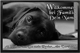 Home Labrador Fußmatte mit Wunschname Herzlich Willkommen Hund Familie