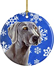 Caroline's Treasures LH9296-CO1 Weimaraner Winter Snowflake Holiday Ceramic Ornament, Multicolor