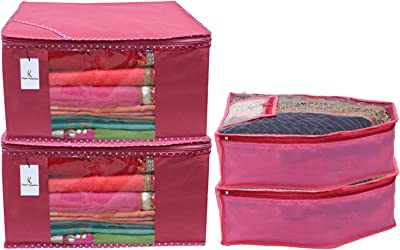 Kuber Industries Non Woven 2 Pieces Saree Cover/Cloth Wardrobe Organizer and 2 Pieces Blouse Cover Combo Set (Pink)