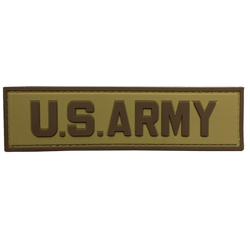 US Army Tab PVC Rubber Military Morale Patch with Fastener Hooked by uuKen Tactical Gear (Tan)