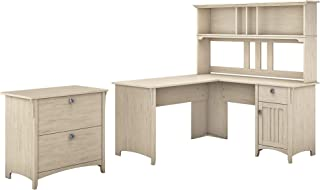 Bush Furniture Salinas 60W L Shaped Desk with Hutch and Lateral File Cabinet in Antique White