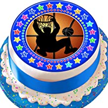 Cannellio Cakes Basketball Ball Blue Star Border 7.5 Inch Precut Edible Icing Cake Topper Decoration
