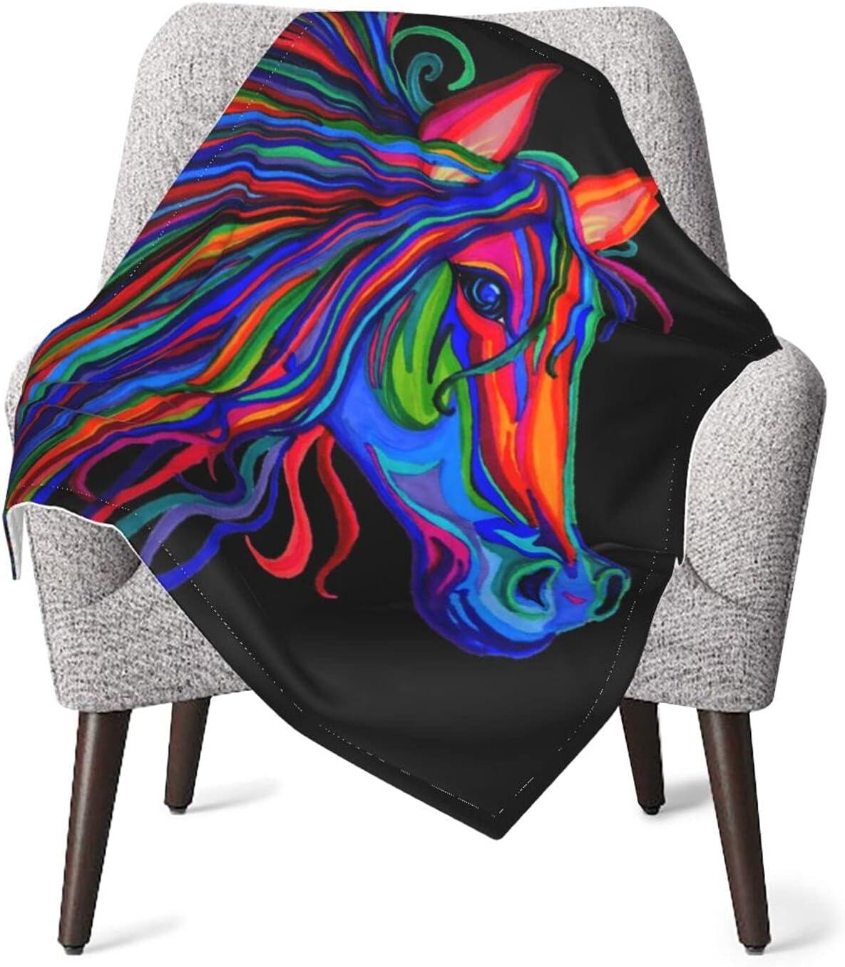 JZDACH Unisex Baby Receiving Rainbow Blankets Horse Wild Max 80% OFF I Popular brand Head