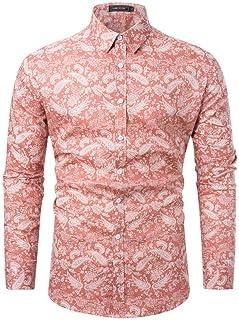 Men Long Sleeve Shirt Fashion Casual Print Shirt Business Casual Flower Shirt