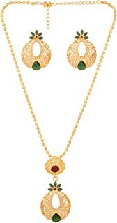Touchstone Gold Tone Indian Bollywood Beautiful mesh and Cut Work Designer Jewelry Pendant Set for Women