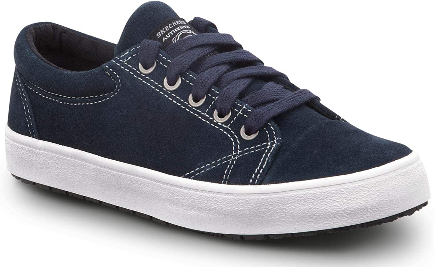 Skechers Work Brooke - Women's Navy up Lace Toe White free shipping Outlet sale feature Soft
