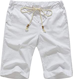 Boisouey Men's Linen Casual Classic Fit Short Summer Beach Shorts