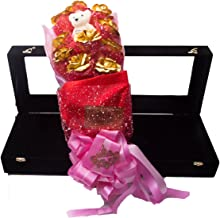 JEWEL FUEL 24K Gold 10 Roses And a Teddy Bouquet With Velvet Gift Box