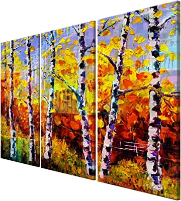 999Store Unframed colorful tree printed Canvas painting (Canvas_54x30 Inch_Yellow) 3FCanvasLP080