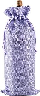 LanTian Wine Bag, 10 Packs 14 x 6.5 Inch Burlap Wine Bags Drawstring Pouch Bottle Gift Bags for Wine Tasting Party Dinner Birthday Wedding Favors Christmas Thanksgiving Halloween (Purple)