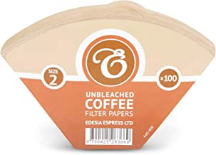 100 Size 2 Coffee Filter Paper Cones, Unbleached by EDESIA ESPRESS