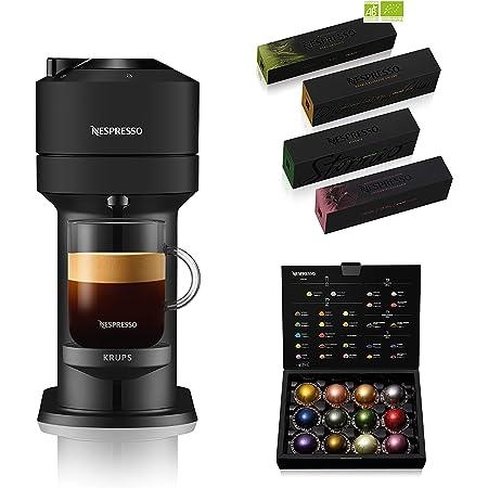 Krups Nespresso Vertuo Next noir mat + 52 capsules Nespresso offertes, Machine à café 1,1 L, Café filtre Espresso, Café grande tasse, Café fraîchement moulu, Café long Nespresso, Gran Lungo YY4801FD
