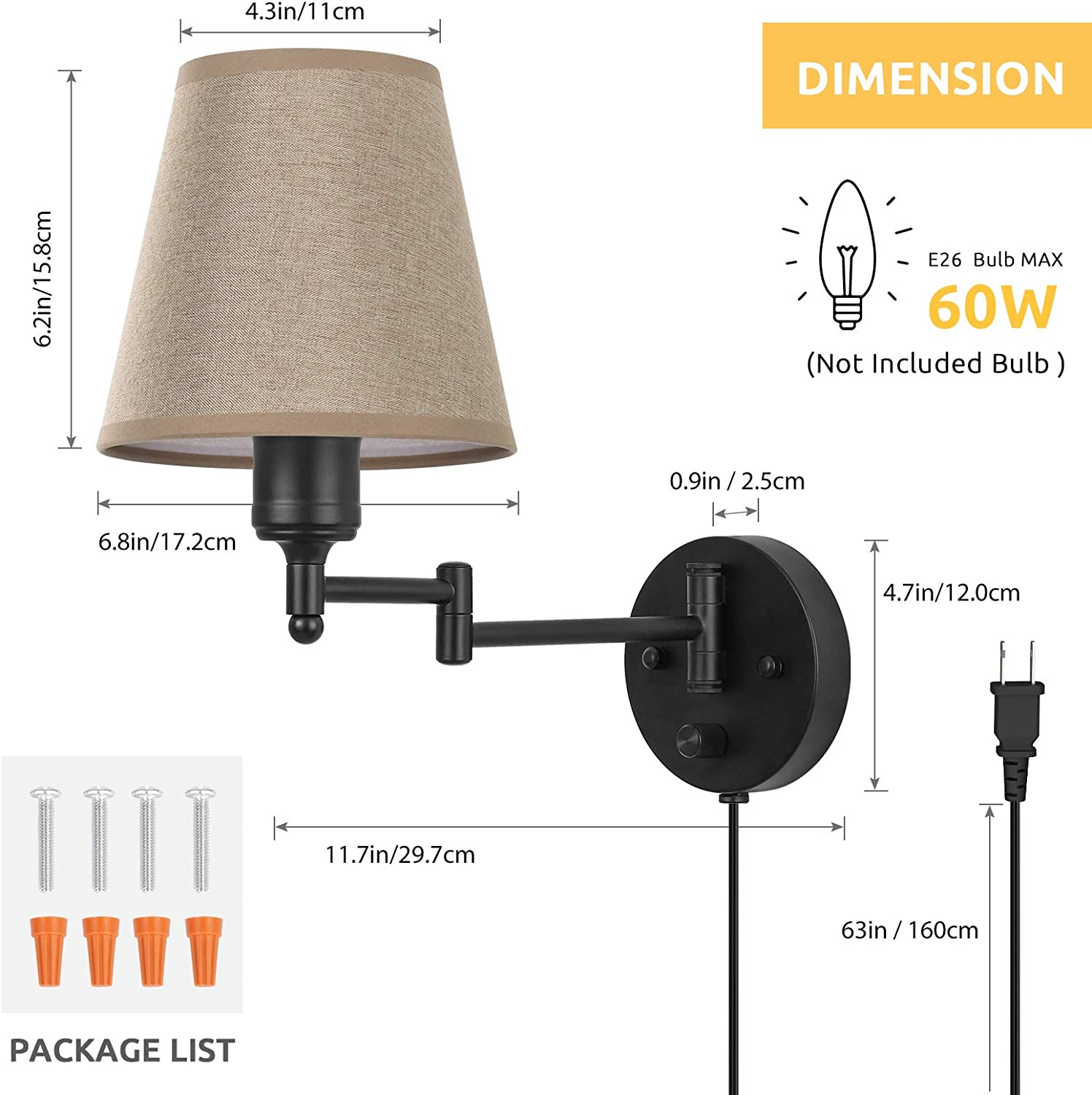 HAITRAL Wall Lamps Set of 2- Brown Wall Mounted Lights with Brown Linen Fabric Shade Wall Sconces Lighting for Bedroom Bedroom Wall Lamps Plug in with Cord or Hardwired Living Room Dorm