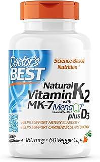 Doctor's Best Vitamina Natural K2 Mk7 Con Menaq7 Plus D3, 180Mcg - 60 Vcaps 60 Unidades 100 g