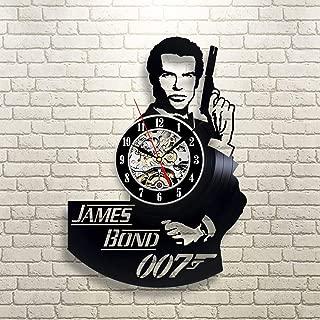 La Bella Casa James Bond Secret Agent Vinyl Wall Clock Modern Gift Idea Handmade Vintage Gift Friendship Gift Ideas Birthday Present for Adults Youth Men Boys
