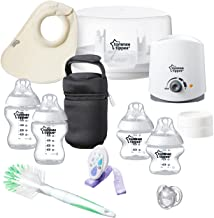 Tommee Tippee Closer to Nature All in One Newborn Baby Bottle Feeding Essentials Gift Starter Set with Electric Bottle Warmer, Bottle Sterilizer, Breast Milk Safe - BPA Free